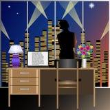 Una donna nell'ufficio esamina fuori la finestra la città di sera illustrazione vettoriale