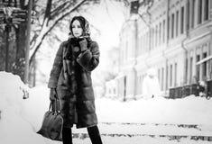 Una donna in una pelliccia Immagine Stock Libera da Diritti