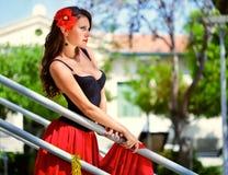 Una donna spagnola sulle scale Fotografia Stock
