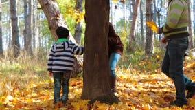 Una donna sta giocando con un bambino in un movimento lento della foresta di autunno video d archivio