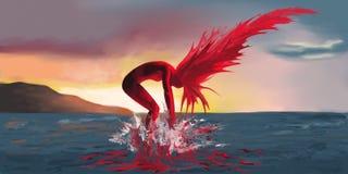 Una donna su fuoco esce dal mare su un fondo del tramonto illustrazione di stock