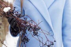 Una donna in un cappotto blu che tiene un ramo dell'uva selvaggia, inverno, neve fotografia stock