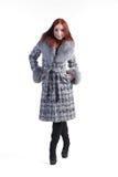 Una donna in un cappotto grigio Immagine Stock Libera da Diritti