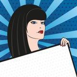 Una donna in uno stile di Pop art con il tablekey nelle mani Immagini Stock Libere da Diritti