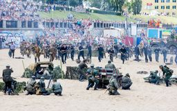 Una dramatización de la batalla Foto de archivo