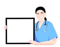 Una enfermera que muestra un cartel del blanc Fotos de archivo