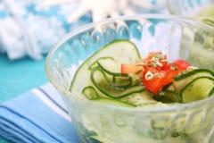 Una ensalada fresca de pepinos Imagenes de archivo