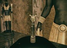 Una escena con una opinión del primer dos serpientes de oro y un Ank guardado por la estatua de dios Anubis ilustración del vector