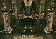 Una escena de la entrada de un templo egipcio de la fantasía guardado por las estatuas de dios Anubis stock de ilustración
