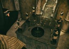 Una escena de la fantasía de un templo egipcio guardado por las estatuas de dios Anubis stock de ilustración