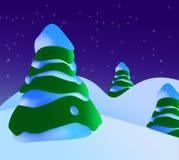 Una escena de la Navidad Nevado con los árboles de navidad y las estrellas Foto de archivo