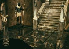 Una escena de un lugar egipcio de la fantasía por completo de geoglyphs en el piso y la estatua de dios Anubis libre illustration