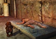 Una escena de un oso de peluche frecuentado con un cadáver que miente un colchón sucio libre illustration