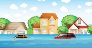 Una escena del desastre de inundación ilustración del vector