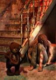 Una escena del primer de un oso de peluche frecuentado mató después a un hombre stock de ilustración