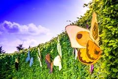Una escena del verano brillantemente del verde de arbustos, seto esquilado con las mariposas hermosas, coloridas Imagen de archivo