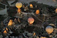 Una escena hermosa en un globo del aire caliente fotografía de archivo