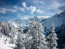 Una escena nevosa de la montaña en las montañas francesas imagenes de archivo