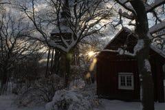 Una escena nevosa de la Navidad fotografía de archivo