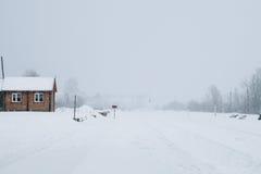 Una escena nevosa del invierno con la nieve que cae de la región cárpata, Ucrania, Europa Imagen de archivo libre de regalías