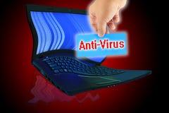 Una escritura de la etiqueta para escribir la palabra ?antivirus?. Imágenes de archivo libres de regalías