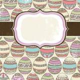 Una escritura de la etiqueta sobre el fondo de muchos huevos de Pascua Imagen de archivo