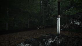 Una espada ambidextra épica dentro de una roca ilustración del vector