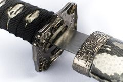 Una espada japonesa original del samurai foto de archivo libre de regalías