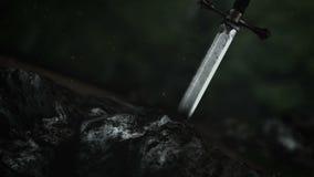 Una espada legendaria pegada dentro de una piedra stock de ilustración