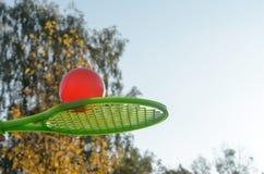 Una estafa de tenis en su mano coge la bola en el movimiento Fotografía de archivo libre de regalías