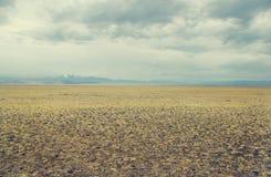Una estepa ancha del valle con la hierba amarilla debajo de un cielo nublado Imagen de archivo