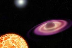 Una estrella de neutrón y su compañero de estallido Imagen de archivo libre de regalías