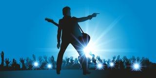 Una estrella del rock en concierto saluda a su audiencia ilustración del vector