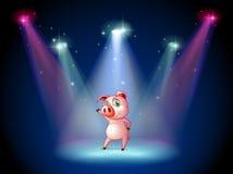 Una etapa con un cerdo en el centro stock de ilustración
