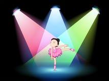 Una etapa con una bailarina linda en el centro ilustración del vector