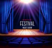 Una etapa del teatro con una cortina azul y un proyector Ni del festival ilustración del vector