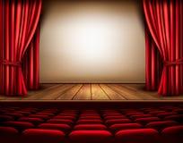 Una etapa del teatro con una cortina roja, asientos libre illustration