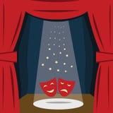 Una etapa del teatro con una cortina roja, asientos Vector stock de ilustración