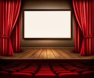 Una etapa del teatro con una cortina roja, los asientos y un proyecto suben ilustración del vector
