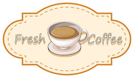 Una etiqueta fresca del café con una taza de café caliente Fotografía de archivo