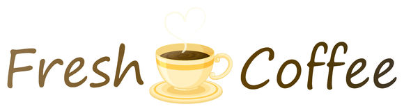 Una etiqueta fresca del café con una taza de café caliente Fotografía de archivo libre de regalías