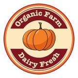 Una etiqueta fresca orgánica de la granja y de la lechería stock de ilustración
