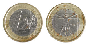 Una euro moneta (Italia) Fotografia Stock Libera da Diritti