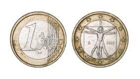 Una euro moneta, parte anteriore e fronti posteriori Fotografia Stock