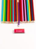 Una exhibición de lápices coloreados Fotografía de archivo libre de regalías