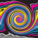 Una exhibición digital licuada única del ejemplo del remolino radial ilustración del vector