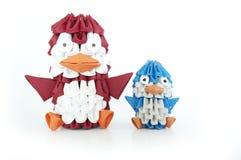 Una famiglia dei pinguini di origami. Fotografie Stock