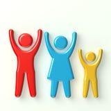 Una famiglia di tre felici Immagine Stock Libera da Diritti