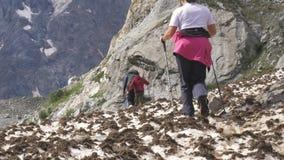 Una famiglia di tre genti cammina lungo il campo di neve Viaggiano a piedi lungo i percorsi della montagna archivi video
