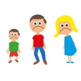 Una famiglia di tre tristi Fotografia Stock